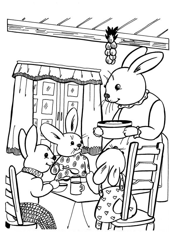Bunny Family Eating Breakfast More Coloring Pages