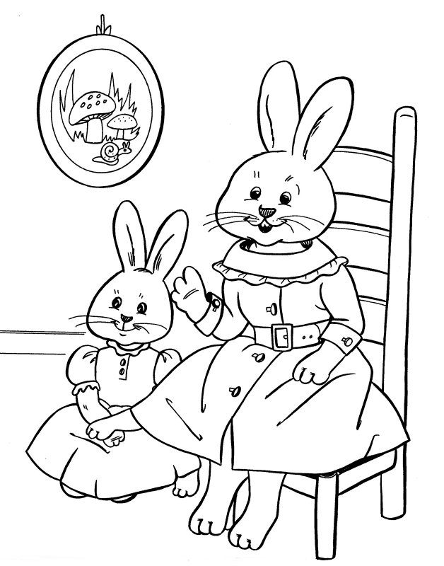 Mother And Daughter Bunnies More Coloring Pages