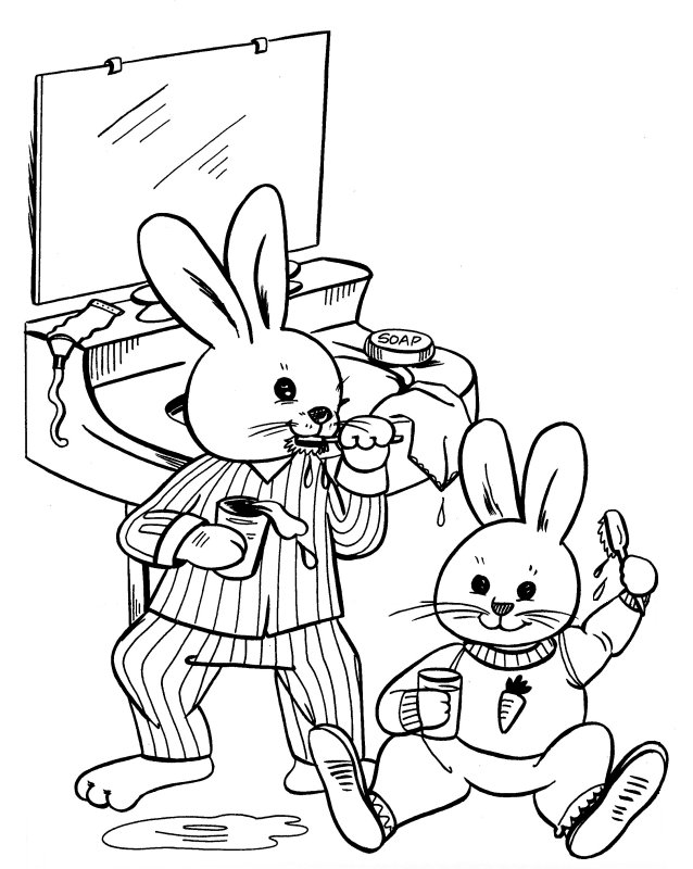 boy brushing teeth coloring pages - photo#26