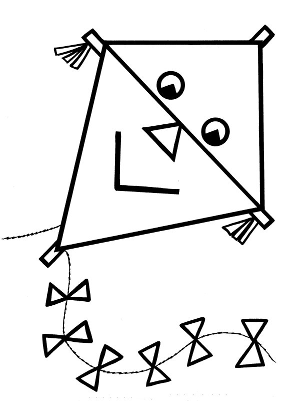 Colouring Pictures Of Kites. Easy Coloring Pages
