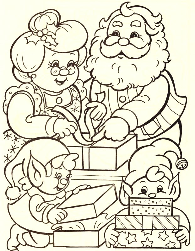 Christmas coloring pages for Santa and mrs claus coloring pages