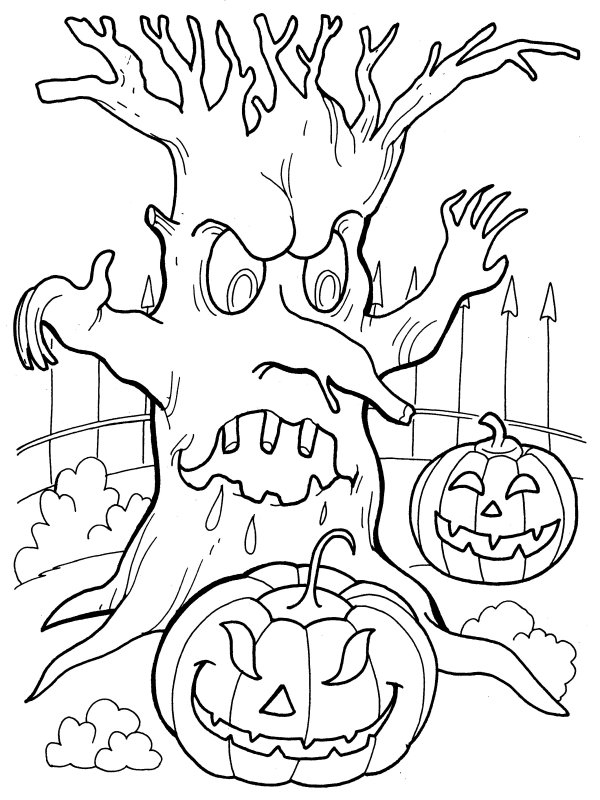 scary trees coloring pages | Spooky Tree Coloring Pages