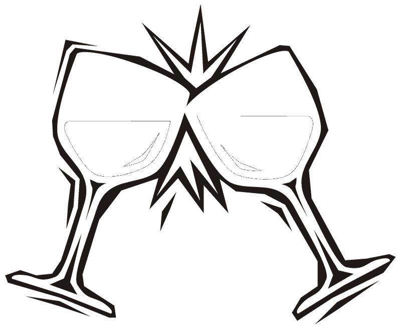 Pair Of Wine Glasses More Coloring Pages