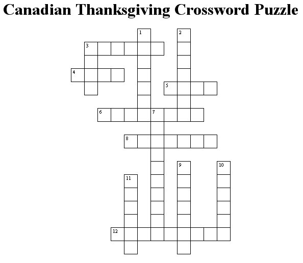 Canadian Thanksgiving Crossword Puzzle