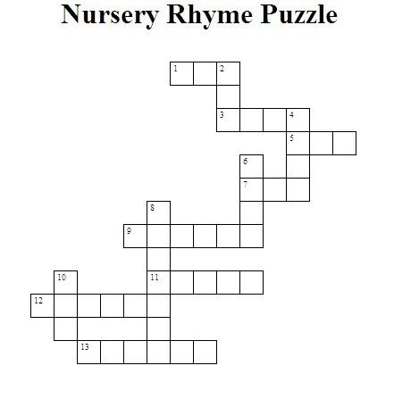 Nursery rhyme crossword puzzle 1 for 1 2 buckle my shoe 3 4 shut the door