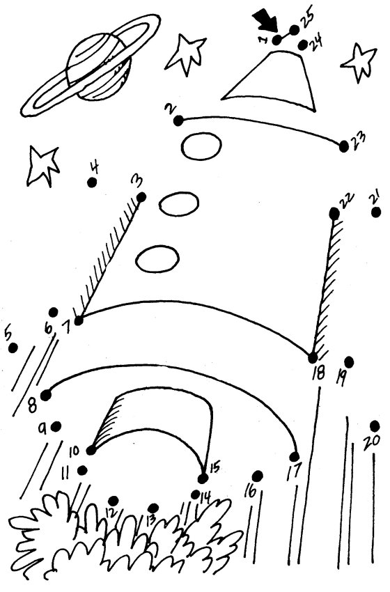 rocket dot to dot Colouring Pages