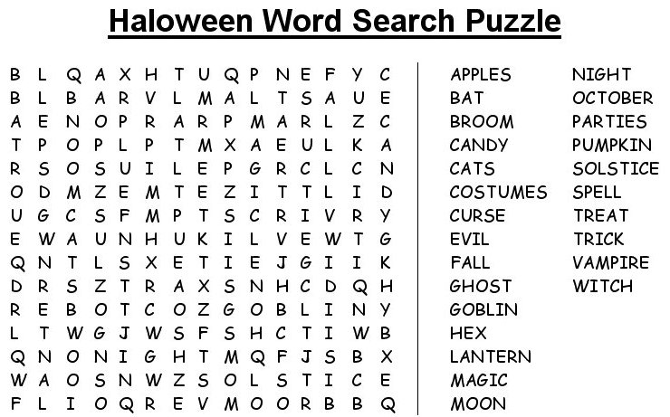 Printable Hard Word Search Puzzles Hard Halloween Word Search