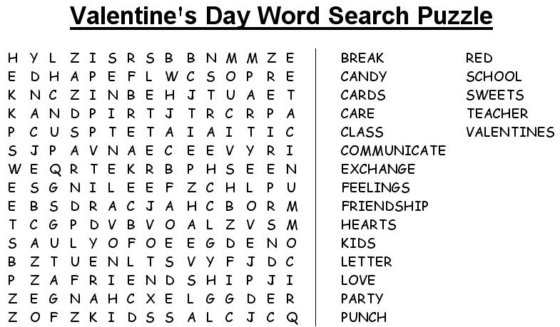 St. Valentine's Day wordsearch puzzle